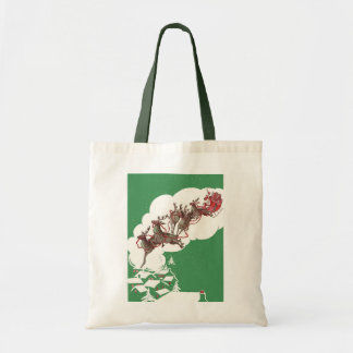 Vintage Christmas Eve, Retro Santa Claus in Sleigh Tote Bag
