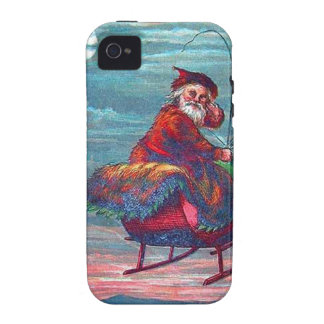 Vintage Christmas Eve Santa and Reindeer Case-Mate iPhone 4 Cover
