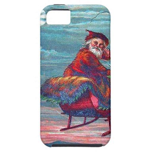 Vintage Christmas Eve Santa and Reindeer iPhone 5 Case