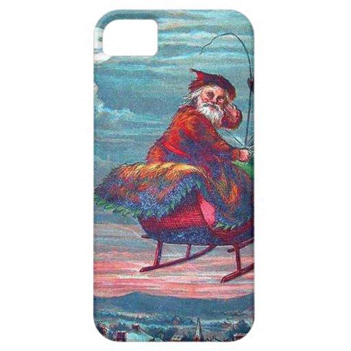 Vintage Christmas Eve Santa and Reindeer iPhone 5 Cases