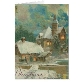 Vintage Christmas Eve Wintery Night Card