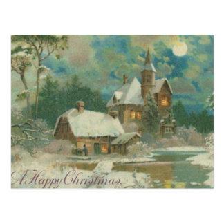 Vintage Christmas Eve Wintery Night Postcards