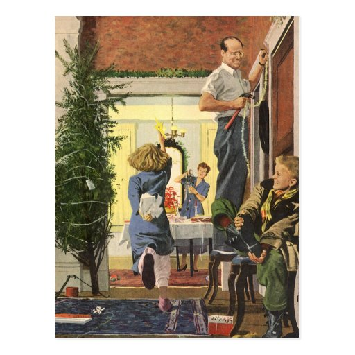 Vintage Christmas, Family Decorating the House Post Cards