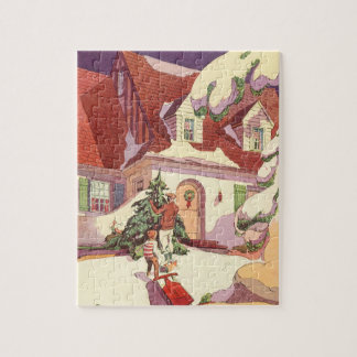 Vintage Christmas, Family House in the Snow Jigsaw Puzzle