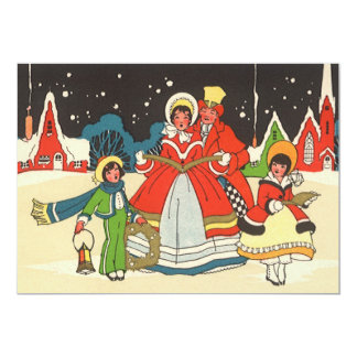 Vintage Christmas, Family Singing Carols 5x7 Paper Invitation Card