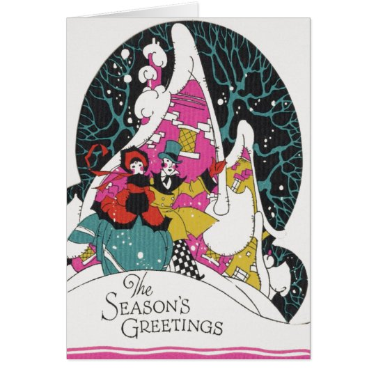 Vintage Christmas, Fancy Victorian Town People Card