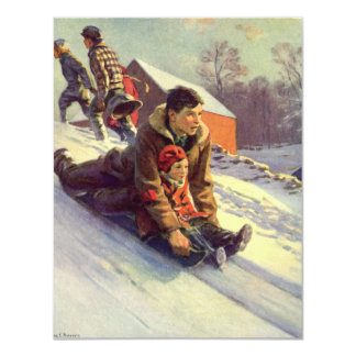 Vintage Christmas, Father and Daughter Sledding 11 Cm X 14 Cm Invitation Card
