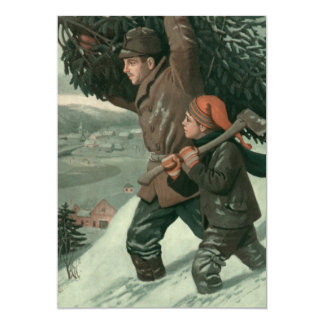 Vintage Christmas, Father and Son Cut Down aTree 13 Cm X 18 Cm Invitation Card