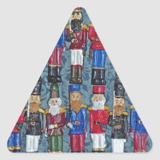 Vintage Christmas Figures, old soldiers Triangle Sticker