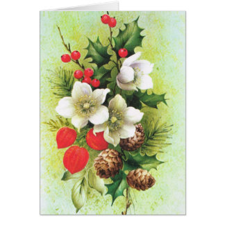 Vintage Christmas, Flowers and berries Greeting Card