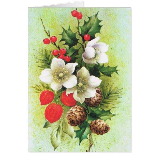 Vintage Christmas, Flowers and berries Card