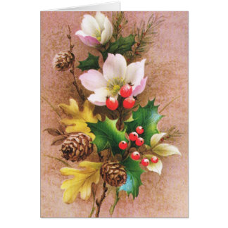 Vintage Christmas, Flowers and berries Greeting Cards