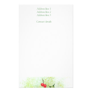 Vintage Christmas, Flowers and berries Stationery Paper
