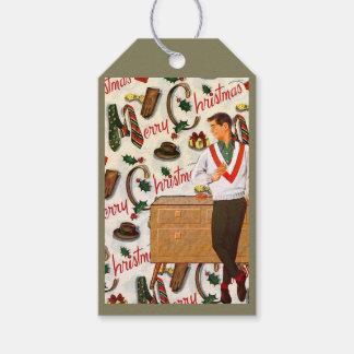 Vintage Christmas For Him Gift Tags