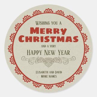 Vintage Christmas frame Calligraphic Decor CC0943 Classic Round Sticker