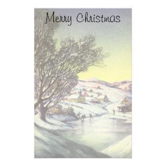 Vintage Christmas Frozen Lake Snowscape Stationery Design