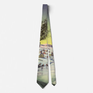 Vintage Christmas,  Frozen Lake with Ice Skaters Tie