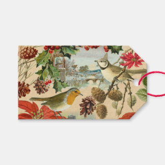 Vintage Christmas gift tags w/ birds and flowers