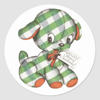 Vintage Christmas Gingham Puppy Dog Stuffed Animal Classic Round Sticker