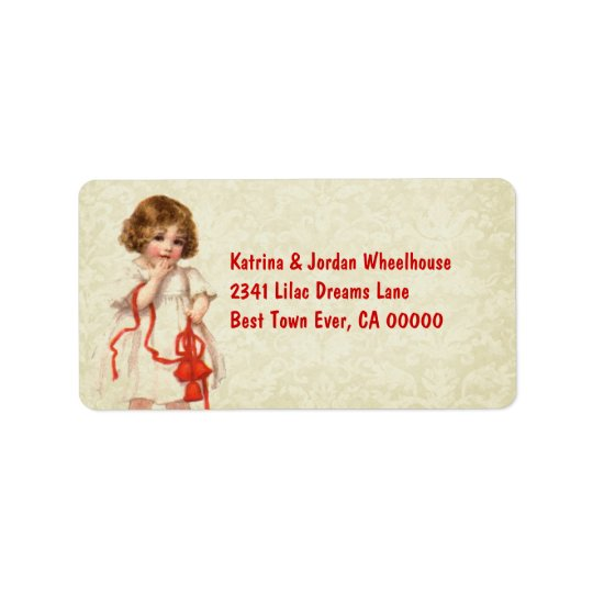 Vintage Christmas Girl and Red Ribbon Ver 2 Address Label