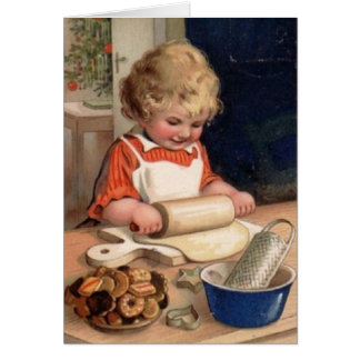 Vintage Christmas Girl Baker Greeting or Note Card