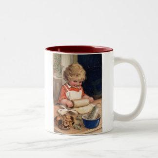 Vintage Christmas - Girl Baking Cookies Two-Tone Mug