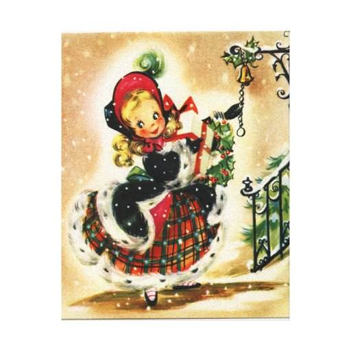 Vintage Christmas Girl Wall Canvas Gallery Wrapped Canvas