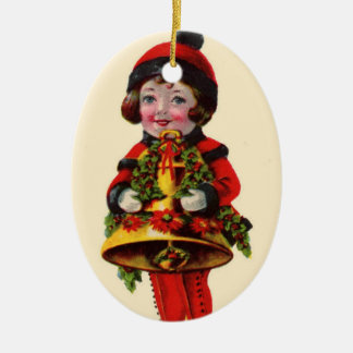 Vintage Christmas Girl with Bell Ornaments