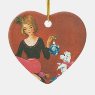 Vintage Christmas Girl With French Poodle Ceramic Ornament