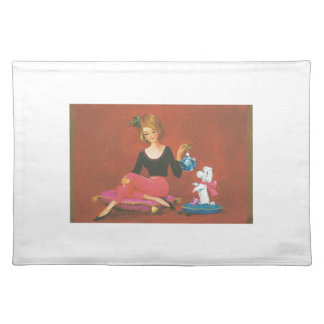 Vintage Christmas Girl With French Poodle Placemat