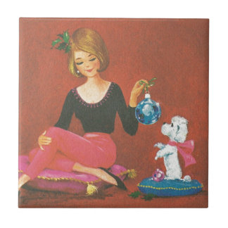 Vintage Christmas Girl With French Poodle Tile