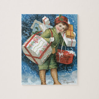 Vintage Christmas, Girl with Gifts in Winter Snow Jigsaw Puzzle