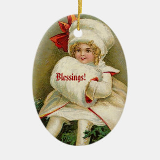 Vintage Christmas Girl with White Outfit Red Bow Ceramic Oval Decoration