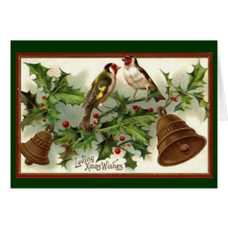 Vintage Christmas Gold Bells And Birds Greeting Card