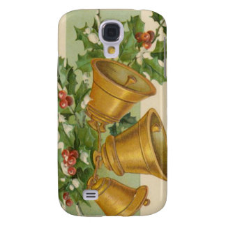 Vintage Christmas Gold Bells Frozen Holly Samsung Galaxy S4 Cover