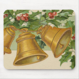 Vintage Christmas Gold Bells & Frozen Holly. Mouse Pad