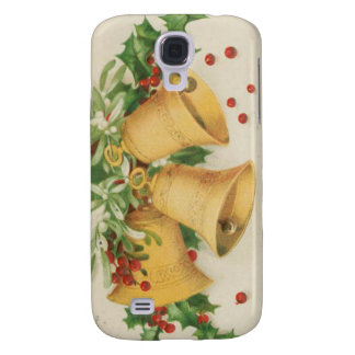 Vintage Christmas Gold Bells Holly Berries Samsung Galaxy S4 Covers
