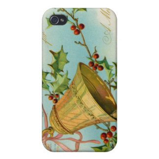 Vintage Christmas Gold Bells iPhone 4 Case