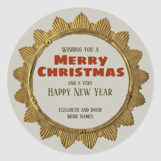 Vintage Christmas gold star w/ holiday text CC0959 Classic Round Sticker