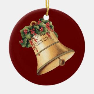 Vintage Christmas Golden Bells, Season's Greetings Round Ceramic Decoration