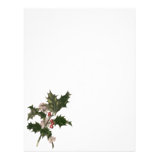 Vintage Christmas, Green Holly Plant with Berries 21.5 Cm X 28 Cm Flyer