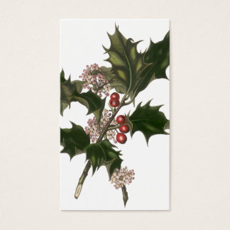 Vintage Christmas, Green Holly Plant with Berries Business Card