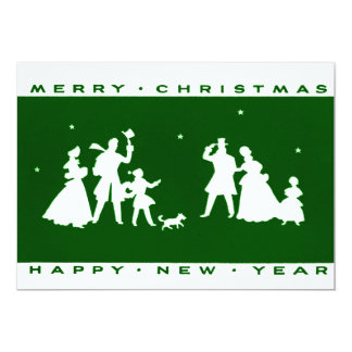 Vintage Christmas Green Silhouette Flat Card Custom Invitation