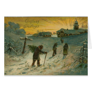 Vintage christmas greeting card snowy landscape