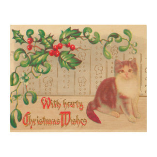 Vintage Christmas- Greeting With Cute Kitten Wood Canvases