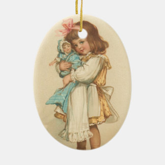 Vintage Christmas Greetings Girl with Doll Christmas Ornaments
