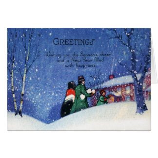 Vintage Christmas Greetings Holiday Cheer Card