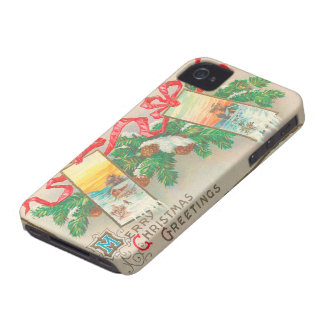 Vintage Christmas Greetings - Red Ribbons iPhone 4 Cases