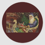 Vintage Christmas Greetings Round Stickers