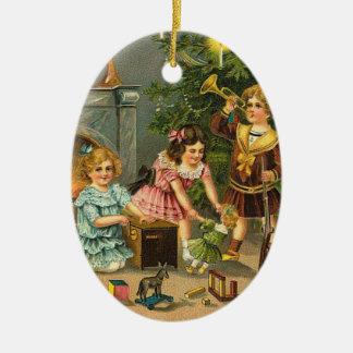 Vintage Christmas Greetings Tree Ornament